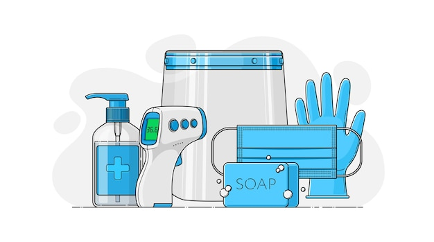 Vector set of personal protective equipment in flat style