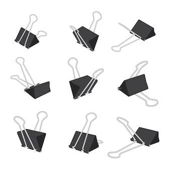 Vector set of perspective paper binder clips
