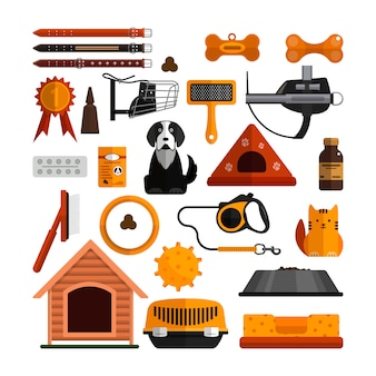 Vector set of pets accessories isolated. dogs and cats design elements in flat style.