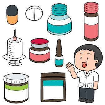 Vector set of pharmacist and medicine