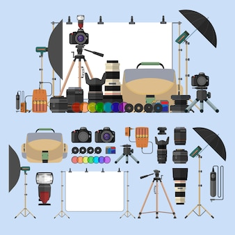 Vector set of photography isolated objects. photo equipment design elements in flat style. digital cameras and gadgets for professional studio photography.