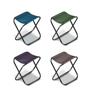 Vector set of picnic folding chairs with black legs and blue, green, grey, violet seats isolated on white background