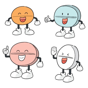 Vector set of pill cartoon