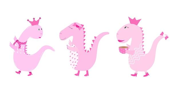 벡터 세트 핑크 공주 공룡은 흰색 배경에 커피 한 잔을 들고 부츠와 스카프를 착용