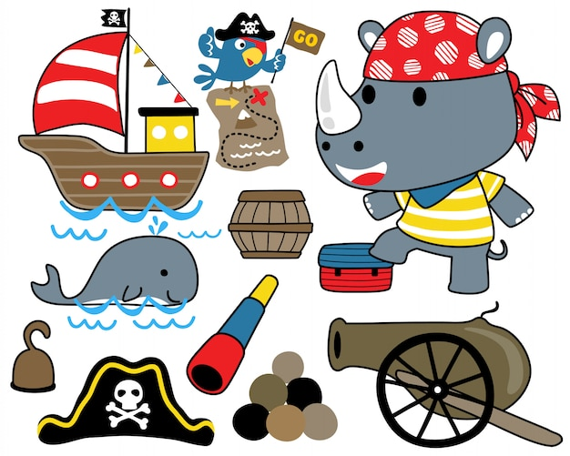 Vector set of pirate with sailing equipment