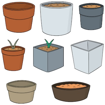 Vector set of planting pot