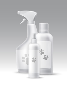 Vector set of plastic bottles for pets hygiene and groomong isolated on background