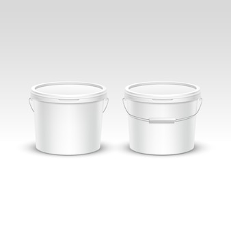 Vector set of plastic bucket container packaging
