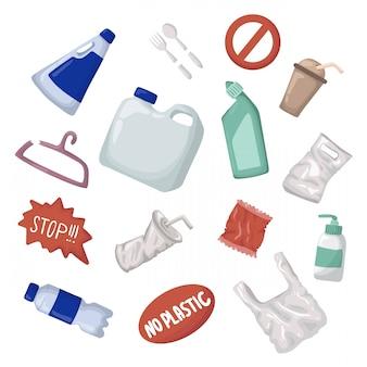 ベクトルセット - プラスチック製のゴミと廃棄物やゴミ、ゼロ廃棄物の概念