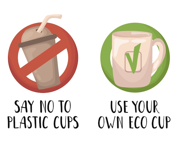 Vector set - plastic trash and waste or garbage, zero waste concept