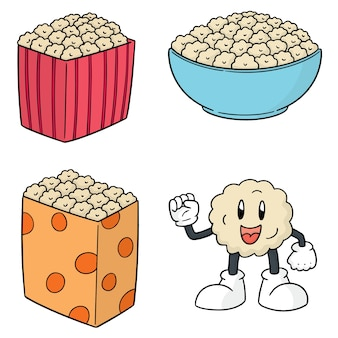 Vector set of popcorn