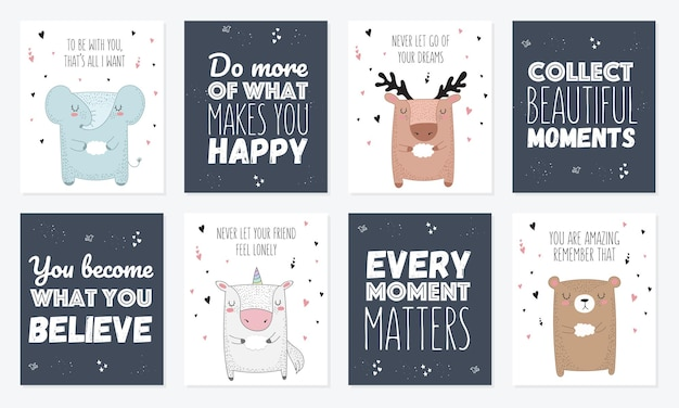 Vector set of postcards with animals and slogan about friend  rty