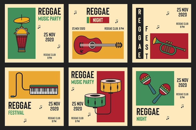 Vector set poster for the reggae festival with music instruments social media post template