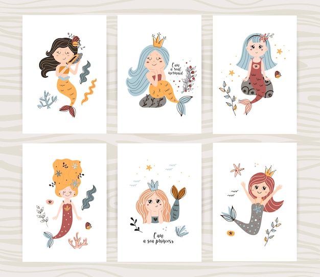 Vector set of posters with cute mermaids