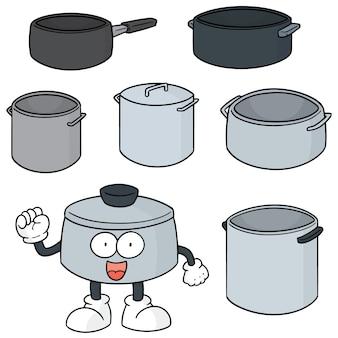 Vector set of pot