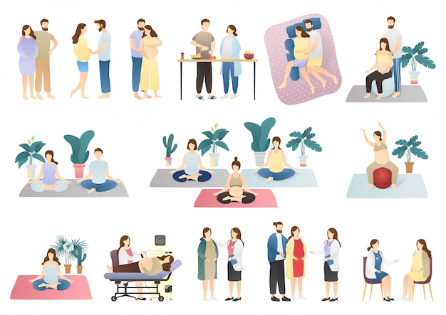 Vector set of pregnancy and maternity scenes. collection of pregnant woman.