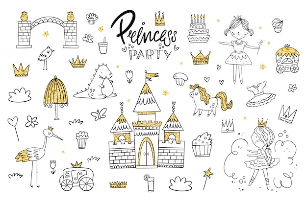 Vector set of princess kingdom. the object with a gold texture