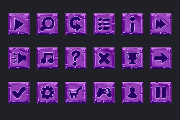 Vector set of purple stone buttons for web or game design. icons on a separate layer