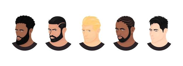 Vector set of race avatars