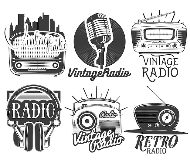 Vector set of radio and music labels in vintage style isolated. design elements and icons