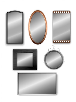 Vector set of realistic 3d mirrors isolated on white