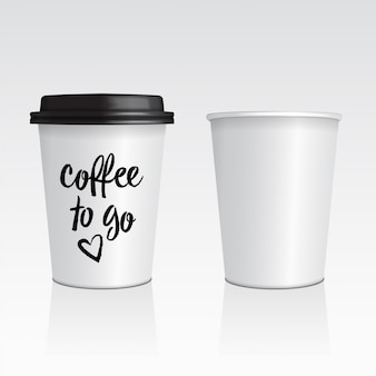 Vector set of realistic blank mock up paper cups with plastic lid.