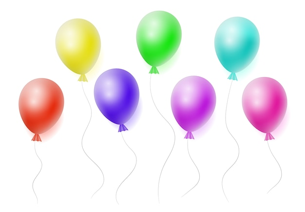 Vector set of realistic helium colorfull balloons on white background.