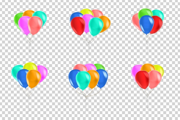 Vector set of realistic isolated balloons for celebration and decoration on the transparent space. concept of happy birthday, anniversary and wedding.