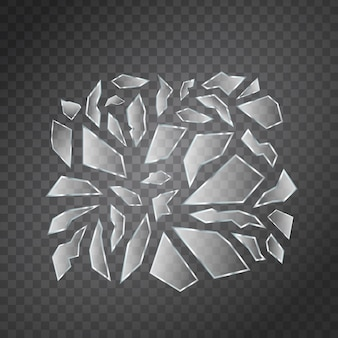 Vector set of realistic isolated broken glass shards for decoration and covering on the transparent space.