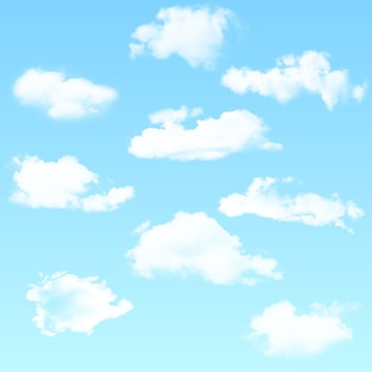 Vector set of realistic isolated cloud on the blue background. vector illustration.
