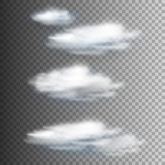 Vector set of realistic isolated cloud on transparent
