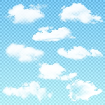 Vector set of realistic isolated cloud on the transparent