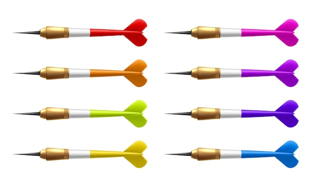 Vector set of realistic isolated dart arrow for decoration
