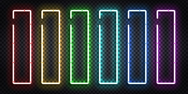 Vector set of realistic isolated neon sign of vertical frame for template and layout.