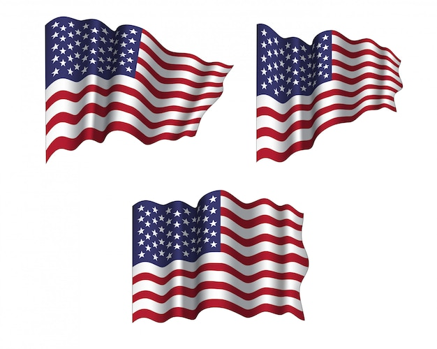 Vector set of realistic waving flags of usa.