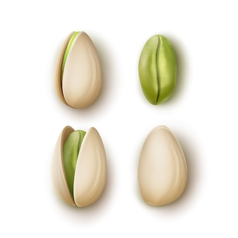 Vector set of realistic whole and cracked pistachio nuts top view isolated on white background
