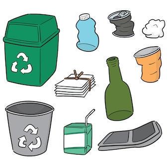 Vector set of recycle garbage