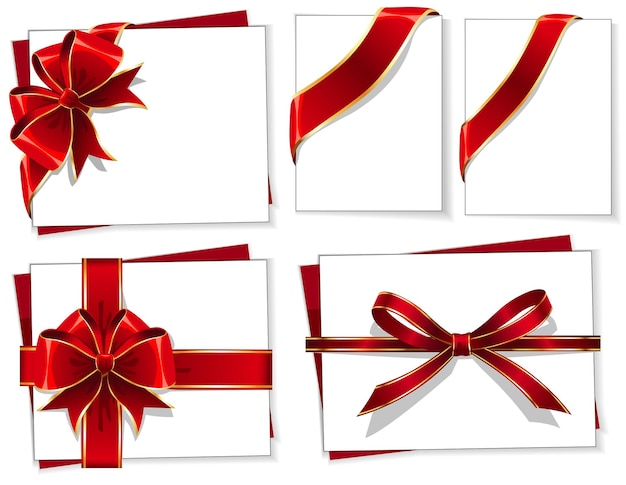 Vector set of red gift bows with ribbons