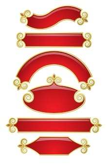 Vector set of red-gold banners