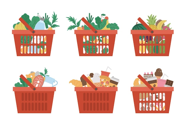 Vector set of red shopping basket icons with products isolated on white background plastic shop cart with vegetables fruit water fast and sweet food healthy and unhealthy ingredients