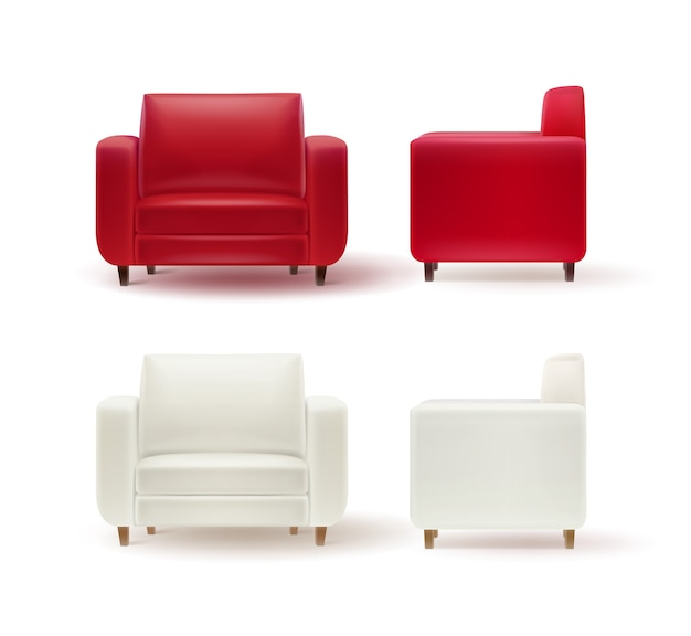 Vector set of red, white armchairs side and front view isolated on white background