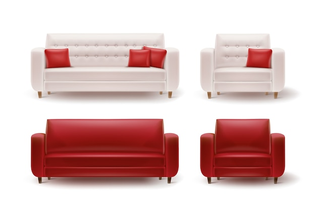Vector set of red, white armchairs with sofas and cushions front view isolated on white background
