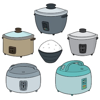 Vector set of rice cookers
