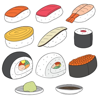 Vector set of rice with raw fish(sushi)
