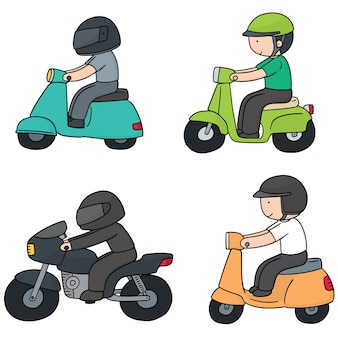 Vector set of riding motorcycle