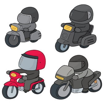 Vector set of riding motorcycles