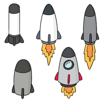 Vector set of rocket and space ship