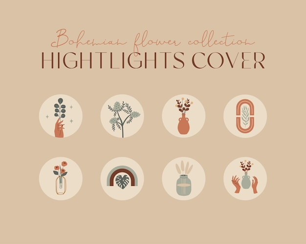 Vector set of round highlights covers posts and stories for social media bohemian illustration