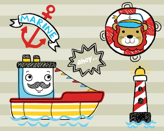 Vector set of sailing theme cartoon