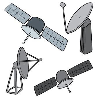 Vector set of satellite and satellite dish
